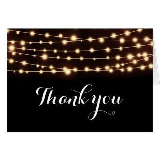 Amber Glow String Lights Elegant Wedding Fold Card