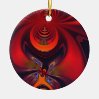 Amber Goddess – Orange and Gold Passion Double-Sided Ceramic Round Christmas Ornament