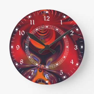 Amber Goddess – Red and Gold Delight Round Wall Clock
