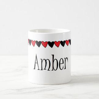 Amber Hearts Name Mugs