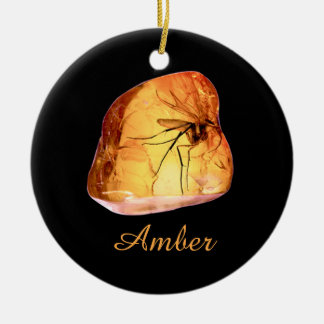 Amber inclusion ceramic ornament