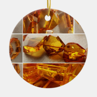 Amber jewelry collage ceramic ornament