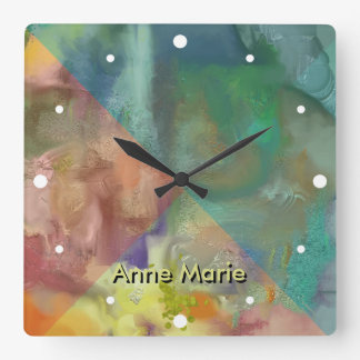 Amber Lens Abstract Square Wall Clock
