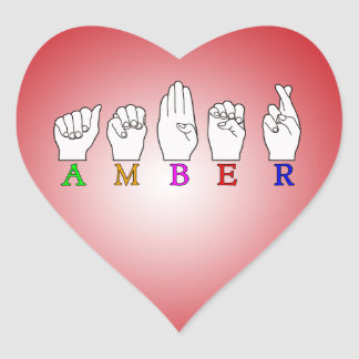 AMBER NAME ASL FINGERSPELLED SIGN HEART STICKER