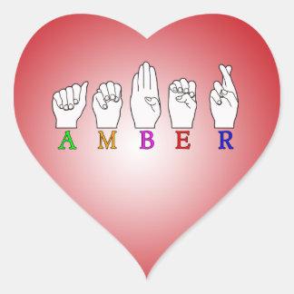 AMBER NAME ASL FINGERSPELLED SIGN HEART STICKER