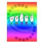 AMBER NAME ASL FINGERSPELLED SIGN POSTCARD