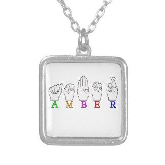 AMBER NAME ASL FINGERSPELLED SIGN SQUARE PENDANT NECKLACE