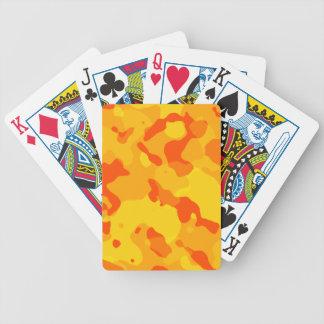 Amber Orange Camo; Camouflage Bicycle Poker Cards