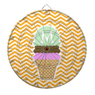 Amber Orange Chevron; Ice Cream Cone Dart Board