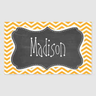 Amber Orange Chevron; Vintage Chalkboard look Rectangular Sticker