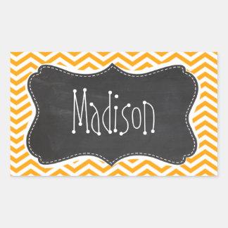 Amber Orange Chevron; Vintage Chalkboard look Rectangular Sticker