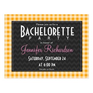 Amber Orange Gingham bachelorette party invitation Post Cards