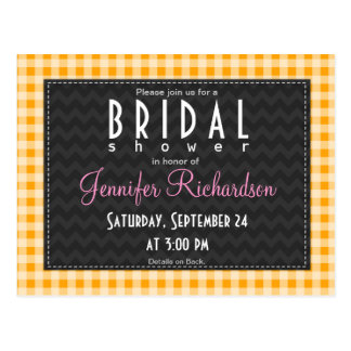 Amber Orange Gingham Bridal Shower invitation Postcard