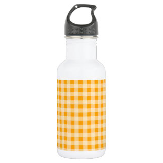 Amber Orange Gingham; Checkered Stainless Steel Water Bottle