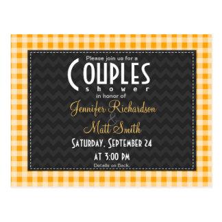 Amber Orange Gingham Couples Shower Postcard