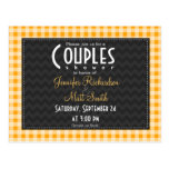 Amber Orange Gingham Couples Shower Postcards