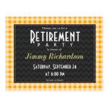 Amber Orange Gingham Retirement Party Postcard