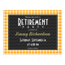 Amber Orange Gingham Retirement Party Postcard