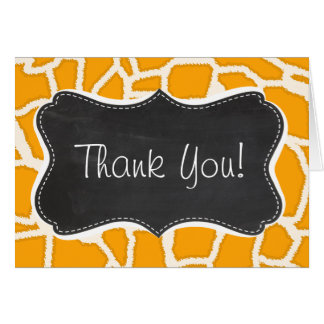 Amber Orange Giraffe Animal Print Chalkboard Card