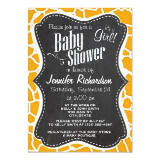 Amber Orange Giraffe Animal Print; Chalkboard Invite