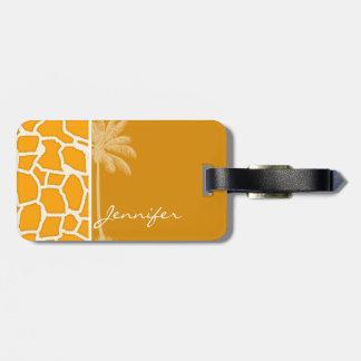 Amber Orange Giraffe Animal Print; Palm Bag Tags