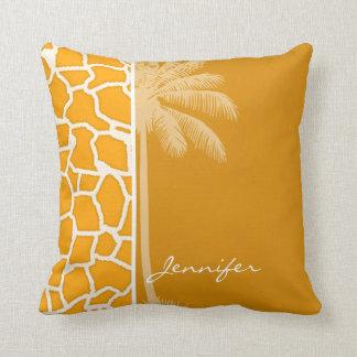 Amber Orange Giraffe Animal Print; Palm Throw Pillows