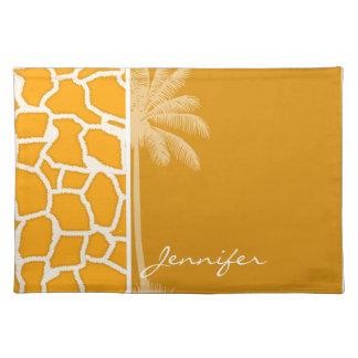 Amber Orange Giraffe Animal Print Palm Placemats