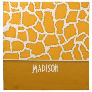 Amber Orange Giraffe Print; Personalized Cloth Napkin