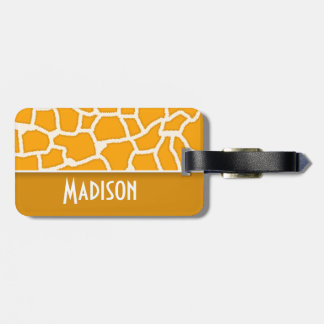 Amber Orange Giraffe Print; Personalized Tag For Bags