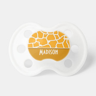 Amber Orange Giraffe Print; Personalized Pacifier