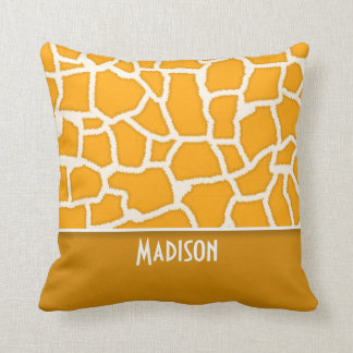 Amber Orange Giraffe Print; Personalized Throw Pillow