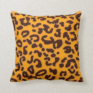 amber orange leopard throw pillow