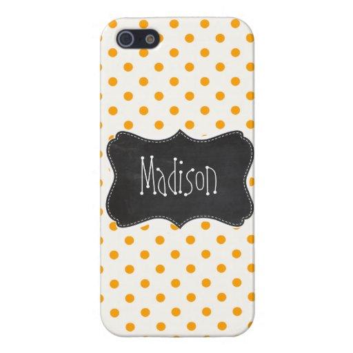 Amber Orange Polka Dots; Chalkboard look Cover For iPhone 5