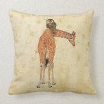 Amber Ornate Giraffe & Owl Floral Pillow