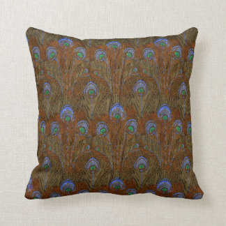 Amber Peacock Feathers Throw Pillows