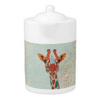Amber Peeking Giraffe Teapot