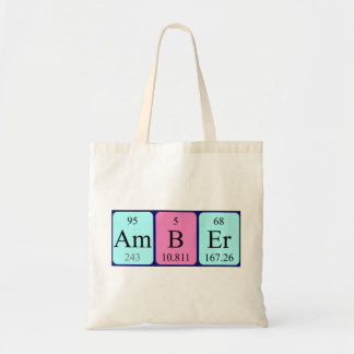 Amber periodic table name tote bag