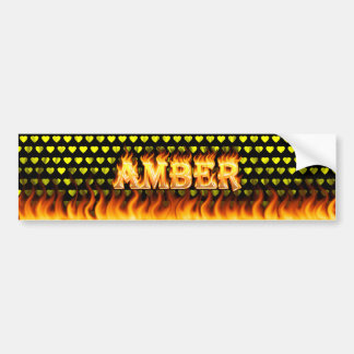 Amber real fire and flames bumper sticker design.