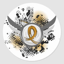 Amber Ribbon And Wings Appendix Cancer Classic Round Sticker