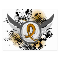 Amber Ribbon And Wings Appendix Cancer Postcard