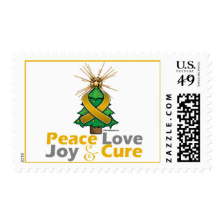 Amber Ribbon Christmas Peace Love, Joy & Cure Stamp