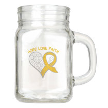 Amber Ribbon Hope Love Faith Mason Jar