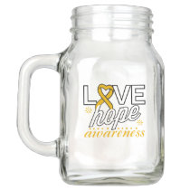 Amber Ribbon Love Hope Awareness Mason Jar