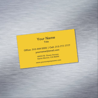 Amber Solid Color Customize It Magnetic Business Card