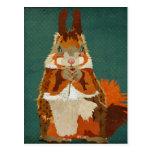 Amber Squirrel Retro Postcard