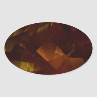Amber Stars Cubed Oval Sticker