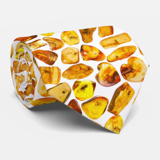 Amber stone inclusions tie