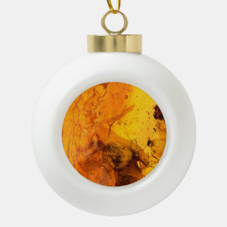 Amber stone texture background ceramic ball christmas ornament