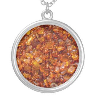 Amber stones round pendant necklace