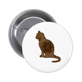 Amber Webs Cat Silhouette Pinback Button